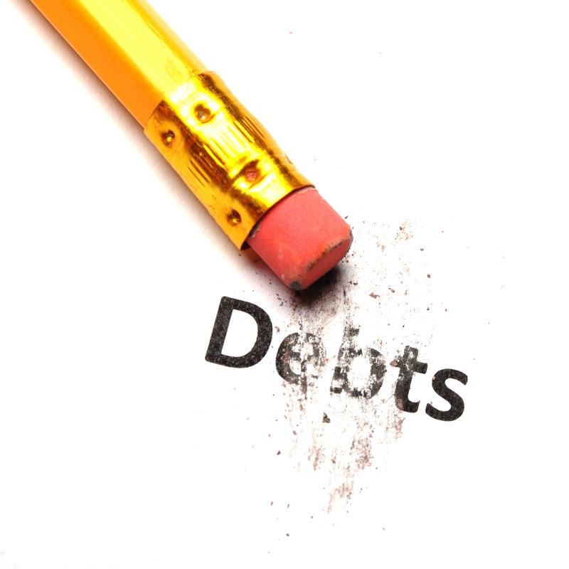Personal Bankruptcy Lawyer Montgomery County pencil erasing the word debts