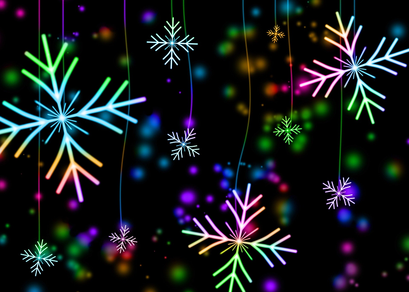 Colorful snowflake lights against a black background-Bankruptcy and Personal Injury Cases Increase During Holidays - Alfred Abel Law Offices